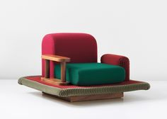 Ettore Sottsass, Tappeto Volante, Flying Carpet armchair, 1974. Via Phillips.