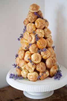 french beignet tower wedding cake | Lavender Provencal Wedding http://theproposalwedding.blogspot.it/ #lavanda #lavender wedding #matrimonio #spring #primavera