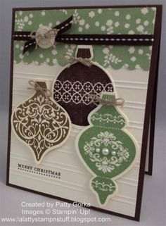 This Christmas Ornaments Card is a beautiful vintage Christmas craft