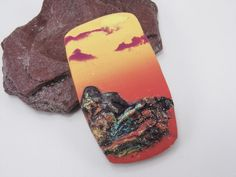 Handmade Polymer Clay 25x45mm Rectangle Focal Pendant-Rustic Mountains-Summertime Sunrise Sunset-Ruby Orange and Gold-PA 9445 by StudioStJames on Etsy