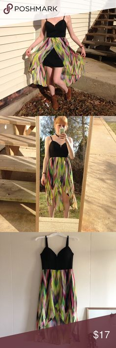 Fire Los Angeles multicolor summer dress, size M Fire Los Angeles multicolor funky summer dress 🍭 Funky beach vibes and summer vibes 🍭 it is in very good condition with minor signs of wear, and looks really pretty on. Stretchy underskirt, and fits and compliments all shapes! 🍹🍭🍹Adjustable straps too! Fire Los Angeles Dresses High Low