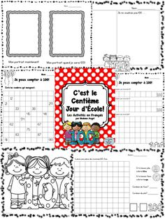 It's the day of School! A variety of math and language activities in French! Core French, French Class, French Lessons, French Teaching Resources, Teaching French, Teaching Tips, 100s Day, School Grades, Science Curriculum
