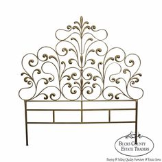 1950s Italian Gilt Metal Queen Size Headboard #LouisXV