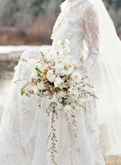 Montana Winter Wedding | Floral Design: Sarah Winward for Honey of a Thousand Flowers | Photography: Jose Villa Photography | Event Planner: Laurie Arons Special Events | Wedding Dress:  Naeem Khan | Wedding Dress: J. Mendel | Event Design + Styling: Daniel Tran | Wedding Cake: Perfect Endings | Venue: The Ranch At Rock Creek