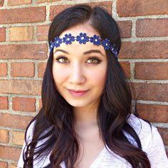 Blue Flower Headband Flower Crown Hippie Headband Hair by Sawu