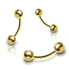 Ball Gold Plated Curved Barbell