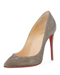 Pigalle+Follies+100mm+Red+Sole+Pump,+Glitter+Chain+by+Christian+Louboutin+at+Bergdorf+Goodman.