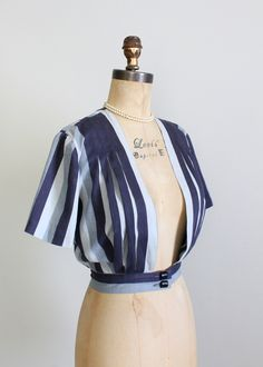Vintage 1930s Grey Striped Blouse - love the fullness created by pleating the stripes