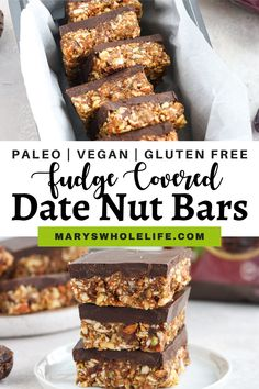 These Paleo Fudge Covered Date Nut Bars are a delicious sweet treat made with just a few healthy ingredients. These bars are vegan, gluten free, and dairy free! #veganrecipes #datenutbars #plantbased #dessertrecipes #healthyrecipes #vegan #vegandesserts #glutenfree #paleo #paleorecipes #paleodesserts Paleo Dessert, Vegan Desserts, Dessert Recipes, Date Nut Bars, Paleo Fudge, Gluten Free Sweets, Dessert Ideas, Whole30, Paleo Recipes