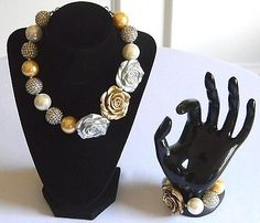 Girls Gold & Silver Roses Boutique Necklace & Bracelet Set Bubble Beads Jewelry