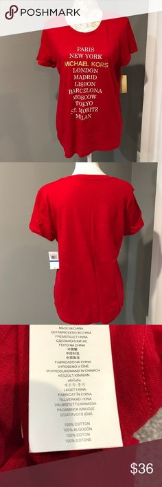 MMK 💯% Cotton Tee RED/White/Gold XL or S MMK 💯% Cotton Tee RED/White/Gold XL or S available. ✅ALWAYS OPEN TO OFFERS-unless marked firm on price ✅OFFERS SHOULD BE MADE THROUGH POSH OFFER FEATURE ✅PRICES NOT DISCUSSED IN COMMENTS  ✅FEEL FREE TO ASK ANY QUESTIONS  ❎NO TRADES.  Photo 4 is a picture of the small. Michael Kors Tops Tees - Short Sleeve