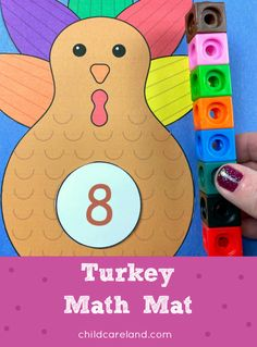 A turkey and thanksgiving themed math mat for preschool and kindergarten. Works on number recognition . and fine motor development. Early Learning Activities, Number Activities, Classroom Activities, Preschool Math, Fun Math, Kindergarten, Baby Reflexology, Shape Matching, Math Skills