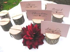 10 round place card holders from a fallen tree by thisfineday