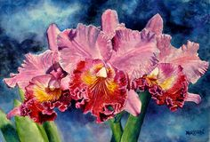 Triple Shot Orchid Art World, Orchids, Watercolor, Artist, Painting, Pen And Wash, Watercolor Painting, Artists, Painting Art