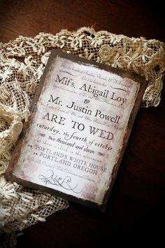 Love the Vintage Invitation look - By George Vintage / Steampunk Wedding by royalsteamline on Etsy