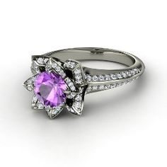 Brilliant Lotus Ring, Round Amethyst White Gold Ring with Diamond from Gemvara