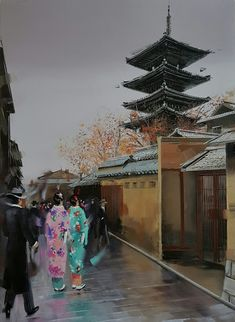 #kamiargajoum #gajoum #gallery #exhibition #art #artoftheday #oilpainting #paintingoftheday #contemporaryart #impressionism #kyoto #japan  #japanese #heritage #cityscape #ninenzaka #gorgeous #beautiful #lovely #kimono #style #dapper #grey #mood #reflections #lovejapan Kimono Style, Kyoto Japan, Art Day, Impressionism, Dapper, Contemporary Art, Fair Grounds, Christmas Tree, Japanese