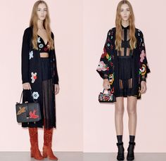 Red Valentino 2016 Pre Fall Autumn Womens Lookbook Presentation - Denim Jeans Flowers Floral Fauna Leaves Botanical Motif Embroidery Bedazzled Sheer Chiffon Tulle Lace Blouse Strapless Ruffles Miniskirt Midi Skirt Shorts Suede Maxi Dress Wide Leg Trousers Palazzo Pants Culottes Furry Outerwear Jacket Outerwear Trench Coat Hearts Geometric Turtleneck Knit Sweater Stripes Cardigan Dots Tiered Cargo Pockets