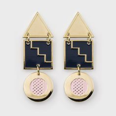 Stacks of style across The Pillar Earring. A head-turning take on the classic dangly. Limited edition hand stamped gold-plated earrings for pierced Gold Plated Earrings, Designer Earrings, Ear Piercings, Statement Earrings, Hand Stamped, Vintage Inspired, Plating, Shapes, Pink