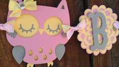Pink yellow & Gray Bird Baby Shower Banner by SweetBugABoo on Etsy, $24.00