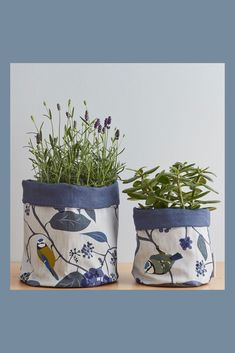 Dreaming about already! My fantastic fabric plant pots are a lovely way to bring some colour into your home. Perfect for any nature lover or bird lover or if you want to bring some outdoors, indoors. Plant Pots, Potted Plants, Indoor Plants, Blue Plants, Kitchen Herbs, Spring Plants, Bird Wallpaper, Fabric Bins, Floral Fabric