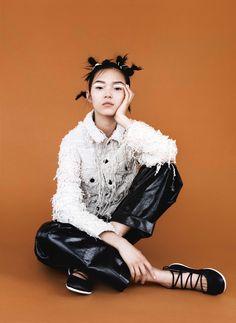 Xiao Wen Ju wears jacket Faustine Steinmetz. belt Chanel. shoes Camper.