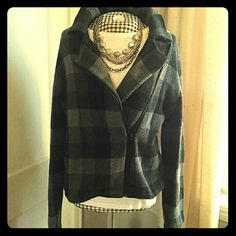 Chaps assymetrical zip sweater/jacket Black and grey plaid sweater jacket with assimetrical zipper. Very gently worn, beautiful trendy plaid Chaps Sweaters