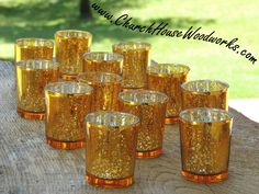 60 Gold Mercury Glass Votive Holders - Candle Holders for Weddings - Glass Votive Candle Holders - Wedding Decorations by ChurchHouseWoodworks on Etsy https://www.etsy.com/listing/292024143/60-gold-mercury-glass-votive-holders