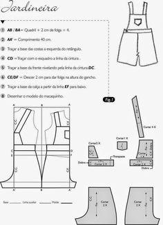 JARDINEIRA/CALÇÃO FÁCIL DE COSTURAR ~ Moda e Dicas de Costura