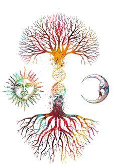 Dna Tattoo, Tattoo Life, Tree Of Life Art, Tree Art, Dna Kunst, Dna Art, Kunst Tattoos, Geniale Tattoos, Summer Crafts For Kids