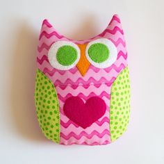 Personalized Owl Tooth Fairy Pillow - Pink and Green. $10.00, via Etsy.