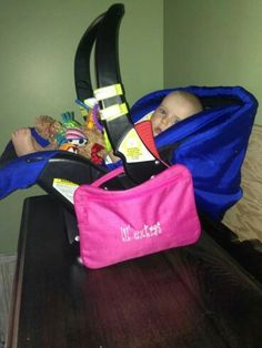 Love this idea! Great for moms, moms to be or a shower gift! Moms hate carrying a diaper bag when just needing to run a quick errand. This is perfect! Attaches right to the car seat and is large enough to hold a wipes container, diaper, pacifier, a small toy or two!