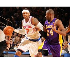 Carmelo Anthony had 22 points in the first quarter and 30 for the game, while Kobe Bryant had 31 for the Lakers.
