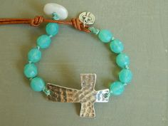 Sterling silver sideways cross bracelet sea by BeaDazzleJewels