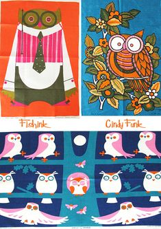 Mid Century tea towels featured on fishink blog
