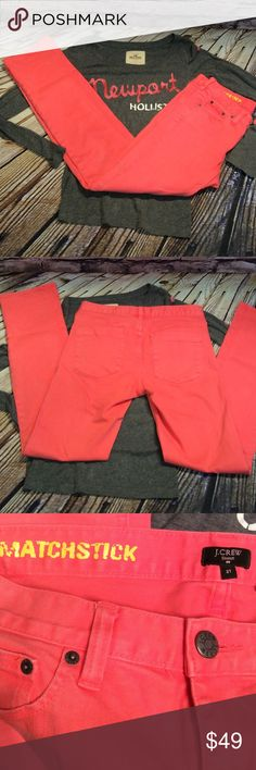 """J. CREW MATCHSTICK JEANS These are pretty and in a vibrant pink color in gently used condition Waist 15"""" inseam 31"""" J. Crew Jeans"""