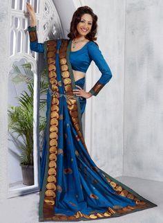 Royal Blue Art Silk Paisley Saree with Banarasi Border