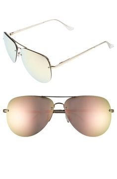Quay Australia 'Muse' 65mm Mirrored Aviator Sunglasses available at #Nordstrom