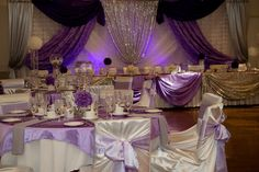 Purple lilac silver and Bling wedding decorations and table scapes diamonds and satin tablecape Bling Wedding Decorations, Table Decorations, Table Scapes, Purple Lilac, Diamonds, Wedding Photography, Satin, Silver, Home Decor