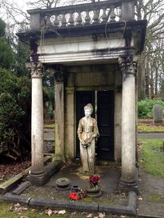 Statue is named Ethyl and she resides in Lawnswood cemetery. The slightly ajar doors are what make it particularly odd and ever so scary.