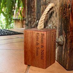 Personalised Saligna Wooden Door Stop Wooden Door Stops, Wooden Doors, Manila Rope, Practical Gifts, New Home Gifts, Personalized Gifts, Cupboards, Silver, Armoires