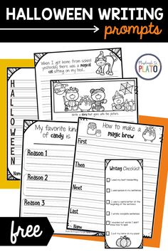These Halloween writing prompts are the perfect way to get your students inspired during the fall season! Choose from five different prompts. #halloweenwriting #beginnerwriting #writingprompts Kindergarten Writing Activities, Kindergarten Literacy, Literacy Centers, Fun Halloween Activities, Halloween Crafts, Halloween Writing Prompts, Writing Complete Sentences, Writing Checklist, Nice Handwriting