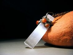 Christmas Gift - Raw Stone Pendant - Raw Stone Necklace - Raw Gemstone Pendant - Raw Selenite and Carnelian - 3,0 inch - FREE SHIPPING. $35.00, via Etsy.