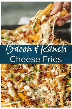 Nothing makes game day delicious more than 3 CHEESE BACON RANCH FRIES. This easy and fun appetizer takes crispy fries and tops them with ranch seasoning, bacon, cheddar, mozzarella, and feta. Bacon Appetizers, Appetizer Recipes, Dinner Recipes, Bacon Recipes, Cooking Recipes, Recipes With Cheese Sauce, Skillet Recipes, Side Recipes, Pizza Recipes