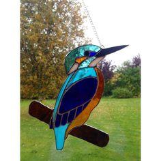 Stained Glass Kingfisher Suncatcher Tiffany technique Blue Glass HANDMADE Gift