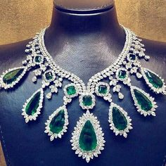 Spectacular emeralds and diamonds necklace. Most precious jewel, most expensive gift.