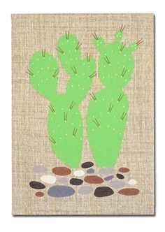 """Embroidered Artwork, Wall Hanging - """"Cactus"""""""