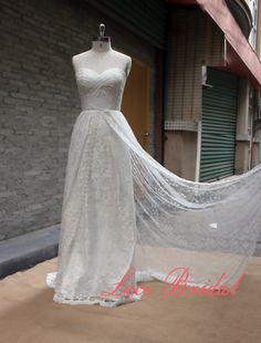 Outside Style Wedding Gown, Classic Lace Bridal Gown, Transparent Train Wedding Dress, A-line Wedding Dress