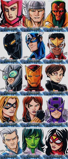 Avengers sketch cards Assemble  by ~KidNotorious     Scarlet Witch  Thor  Vision    Black Panther  Captain America  Falcon    Ant-Man  Iron Man  Wasp    Ms.Marvel  Black Widow  Hawkeye    Quicksilver  She-Hulk  Spider-woman