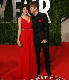 SELENA GOMEZ in red  | Young love: Selena Gomez and Justin Bieber were also on the red carpet ...